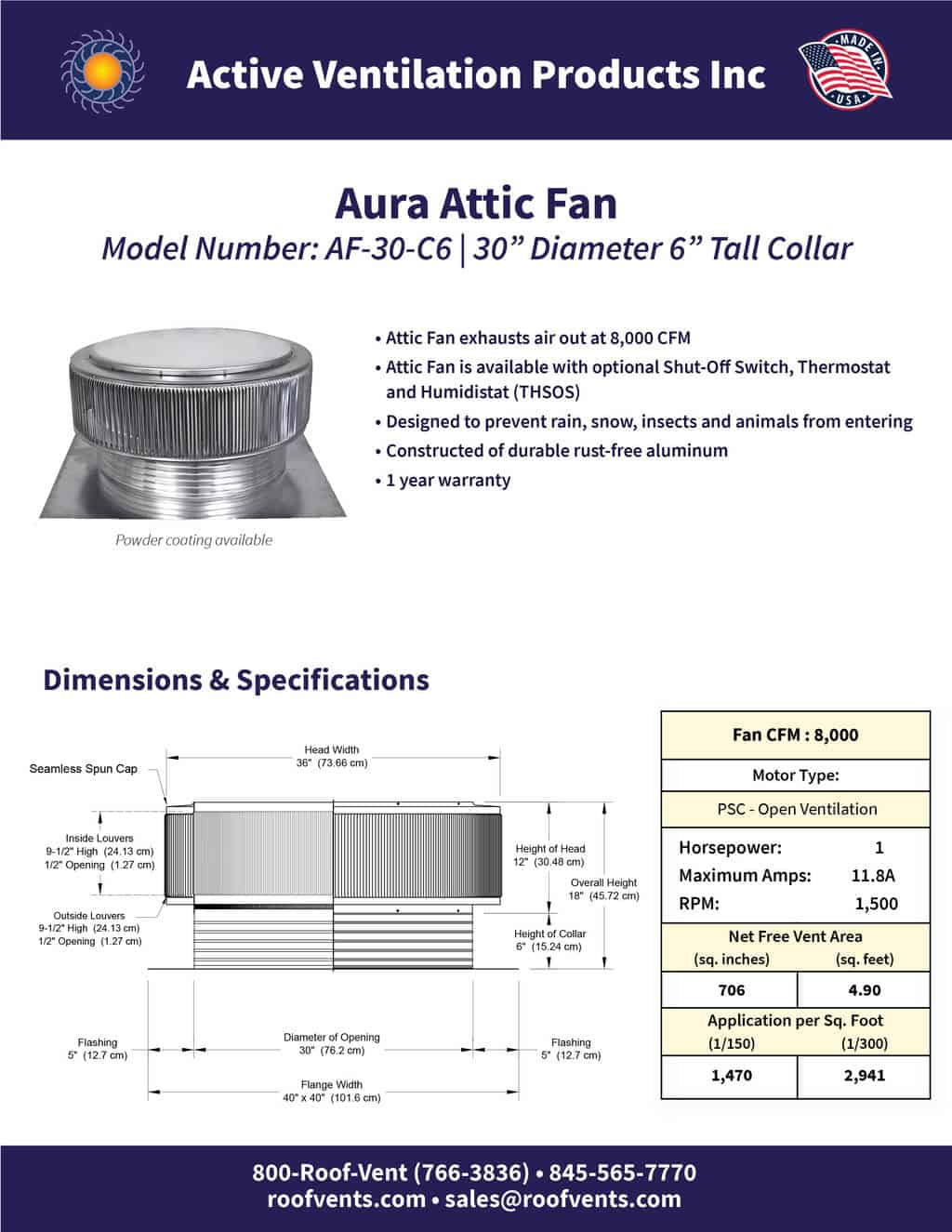 AF-30-C6-brochure An Exhaust Attic Fan