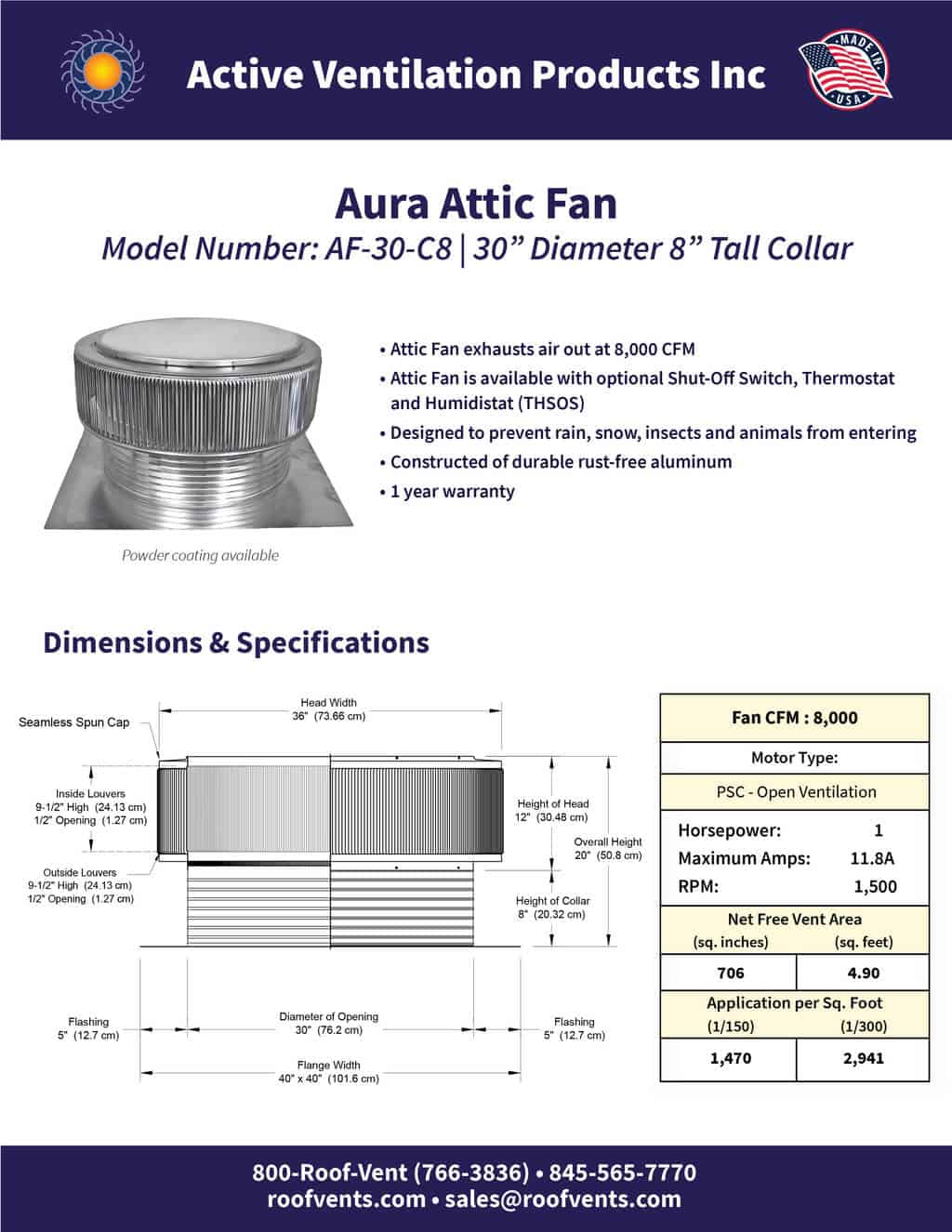 AF-30-C8-brochure An Exhaust Attic Fan