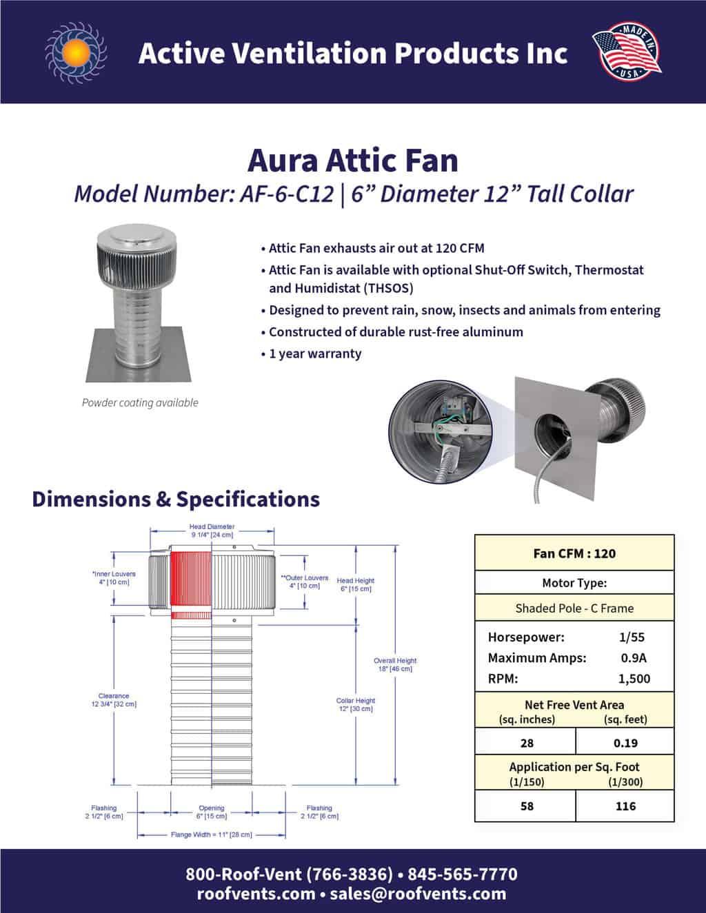 AF-6-C12-brochure An Exhaust Attic Fan