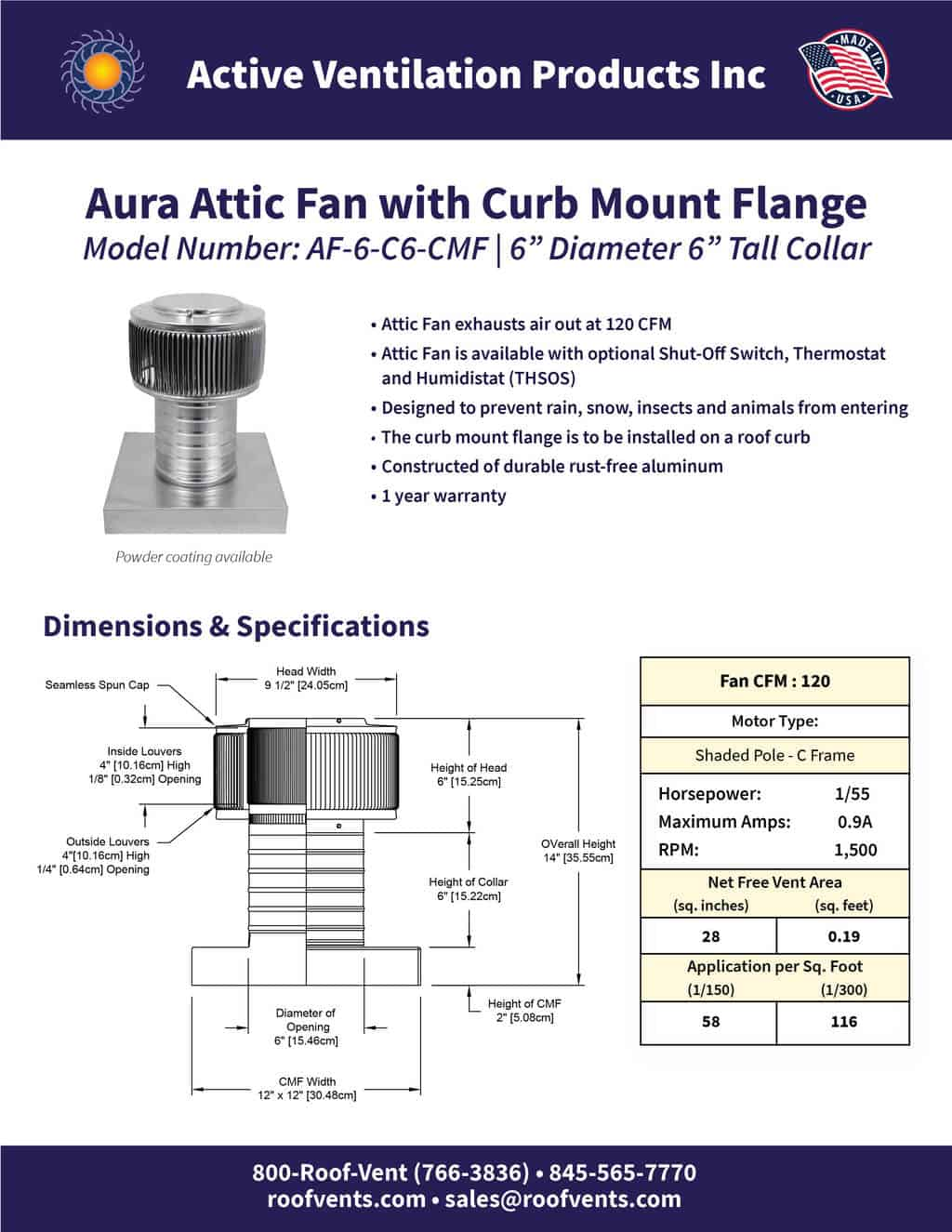 AF-6-C6-CMF-brochure An Exhaust Attic Fan