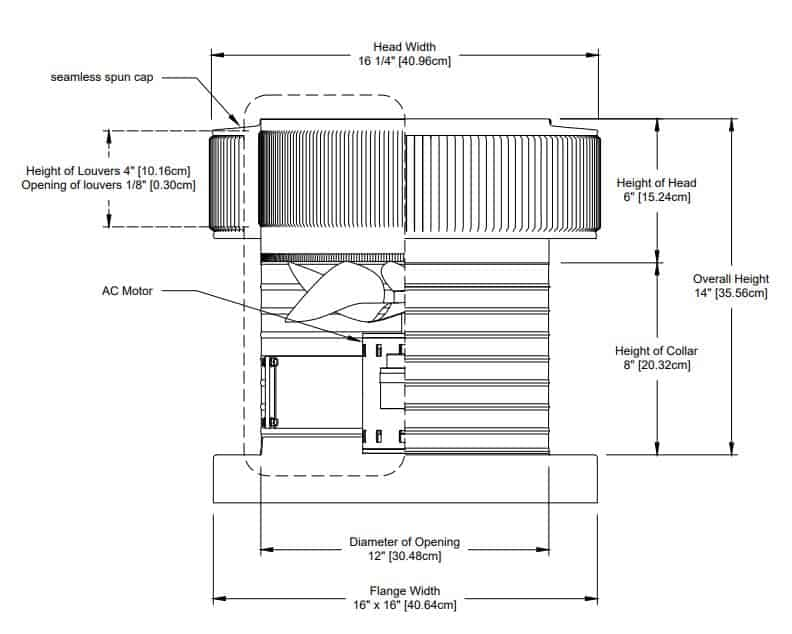 Electric Attic Fans Engineering Drawing - 800 CFM Powered Aluminum Aura Fan with Curb Mount Flange