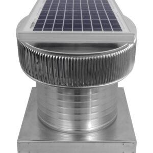 Solar Attic Fan - Aura Solar Fan with Curb Mount Flange ASF-12-C8-CMF-angle