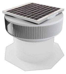 Aura Solar Fan Retrofit Vent Cap ASF-14-RF-WT-on-base