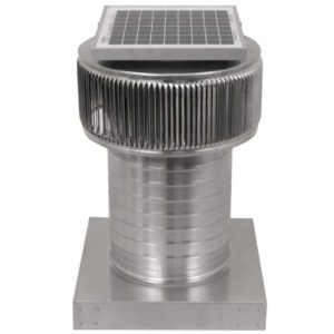 Solar Attic Fan - Aura Solar Fan with Curb Mount Flange ASF-8-C8-CMF-angle