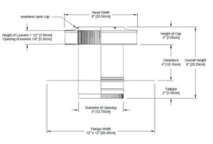 Residential Round Back Roof Jack Vent Cap RBV-5-C4-TP-cutaway-and-measurements-cropped