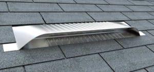 Static Off Ridge Roof Vents - UV-30 Aluminum Low Profile Universal Vent (Dormer Vent) on Shingle Roof