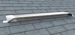 Static Off Ridge Roof Vents - UV-75 Aluminum Low Profile Universal Vent (Dormer Vent) on Shingle Roof