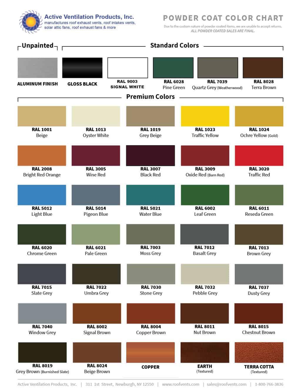 paint color chart - RAL powder coat paint options