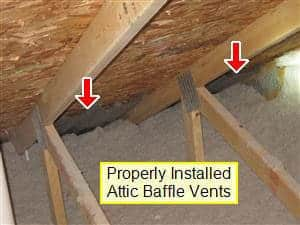 Properly installed baffles shown in attic