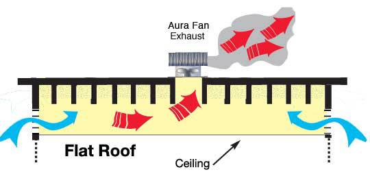 Aura Attic Fan Exhaust with wall louvered air intake vents