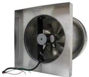 Attic Fan with Curb Mount Flange shown from bottom