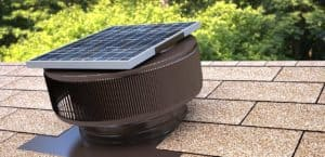 12 Inch Diameter Aura Solar Attic Fan Close Up On Roof In Brown - ASF-12-C2