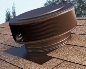 Gravity Ventilator uses wind to ventilate the attic