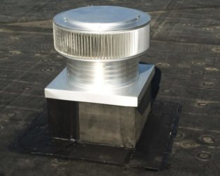 Commercial Gravity Roof Exhaust Ventilator, with curb mount flange on a roof curb
