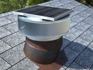 Solar Attic Fan Retrofit on a old roof turbine base
